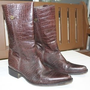 Cole Haan Crocodile Brown Leather Cowboy Boots